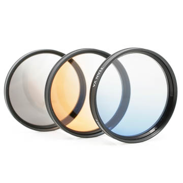Verlaufsfilter-Set (grau, blau, orange) 77mm