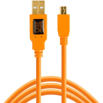 Tether Tools TetherPro USB-Datenkabel für USB 2.0 an USB 2.0 Mini-B (5-Pin) - 4,6 Meter Länge (orange)
