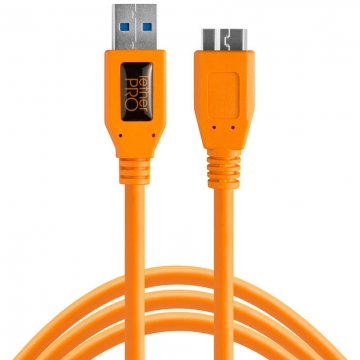 Tether Tools TetherPro SuperSpeed USBDatenkabel für USB 30 an USB 30 MicroB  46 Meter Länge gerader Stecker orange
