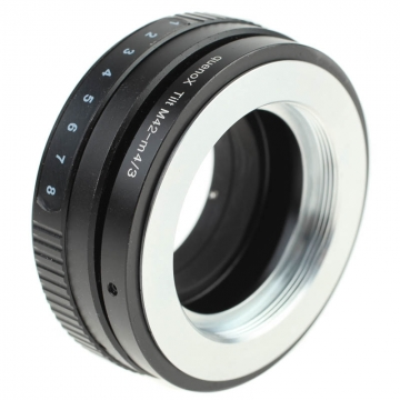 Quenox Tilt-Adapter für M42-Objektiv an Micro-Four-Thirds-Kamera