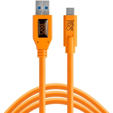 Tether Tools TetherPro USB-Datenkabel für USB 3.0 an USB-C - 4,6 Meter Länge, gerader Stecker (orange)