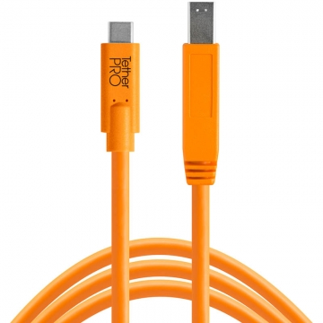 Tether Tools TetherPro USBDatenkabel für USBC an USB 30 Typ B  46 Meter Länge gerader Stecker orange