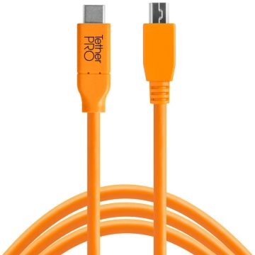 Tether Tools TetherPro USB-Datenkabel für USB-C an USB 2.0 Mini-B5 - 4,6 Meter Länge, gerader Stecker (orange)