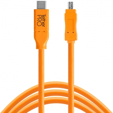 Tether Tools TetherPro USBDatenkabel für USBC an USB 20 MiniB8  46 Meter Länge gerader Stecker orange