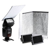 Strobist reflectors and light modifiers set Quenox for flashgun