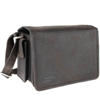 Kalahari Camera Bag Kaama L-14 of Buffalo Leather Dark Brown