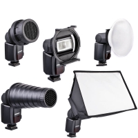 Quenox Light Shaper Kit for External Flash  inkl Softbox Diffusor Honeycomb Snoot etc etc