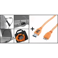 Tether Tools Starter Tethering Kit mit USB 30 Typ A an USB 30 MicroB Kabel 2 JerkStoppern LEDLeuchte und Tasche